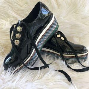 Zara Black Platform Patent Finish Derby Shoes 6